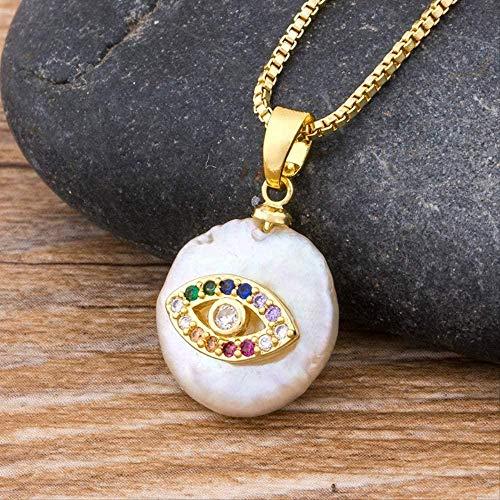 Collar de ojo turco, colgante de perlas de agua dulce, cadena de oro, joyería de circonita de cobre para mujeres y niñas, el mejor regalo de año