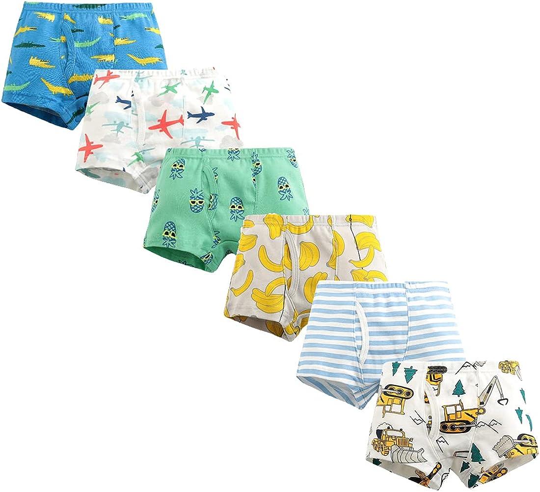 Little Boys Cotton Briefs Dinosaur Truck Shark Toddler Kids Underwear 6 Pack