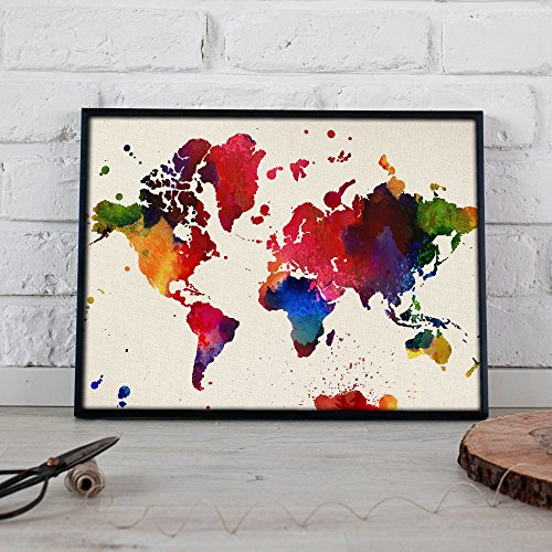 Lámina para enmarcar MAPAMUNDI. MAPA DEL MUNDO. Poster con imágenes del mundo de estilo acuarela. Lámina mapas. Decoración de hogar. Láminas tamaño 24x30 para enmarcar. Papel 250 gramos alta calidad