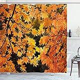 ABAKUHAUS Fallen Duschvorhang, Vivid Herbst-Ahornblätter, Personenspezifisch Druck inkl.12 Haken Farbfest Dekorative mit Klaren Farben, 175 x 200 cm, Orange Gelb-Braune