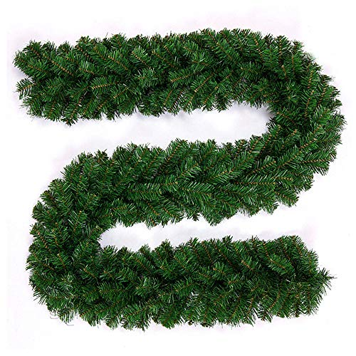 9ft/270cm Christmas Garland Decoration 220 Tips Christmas Garlands long Green Pine for Fireplaces Stair Plain Green Artificial Xmas Tree Garden Yard Decoration (1PCS)