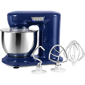 Aifeel Stand Mixer, 800W Electric Kitchen Dough Mixer with 4.3 QT Bowl, Whisk, Dough Hook, Beater, Splash Guard, LED Function Keys (Retro Blue)
