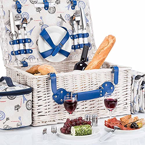 GOODS+GADGETS Picknickkorb für 4 Personen - Luxus Weidenkorb für Picknick mit Picknickdecke und Kühltasche