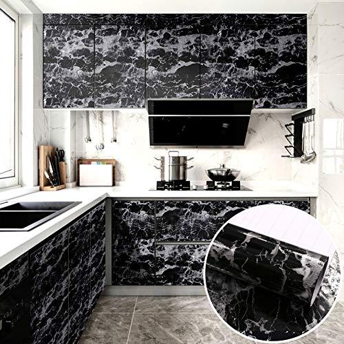 Fantasnight Marmol Vinilos para Muebles Papel Adhesivo 40×300cm Negro Marmol Papel para Encimeras de Cocina, Mesas, Superficies de Gabinetes, Paredes