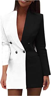 BUKINIE Womens Long Sleeve Open Front Cardigan Jackets Casual Work Office Color Block Blazer Suit Jackets Coats