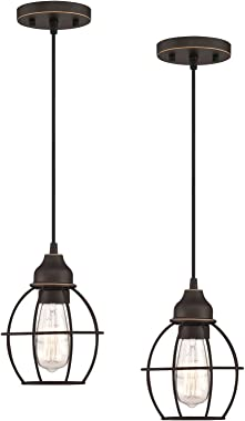 WISBEAM Pendant Lighting Fixture with Oil Rubbed Bronze Finish, Hanging Lights with One Medium Base Max. 60 Watts, ETL Rated,