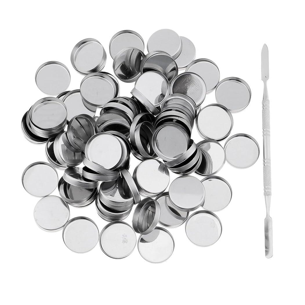 ピックシャンパン乗り出すPerfk 約100個 メイクアップパン 空パン スティック 金属棒  DIYプレス アイシャドウ/ブラッシュ/パウダー/クリーム コスメ DIY 2タイプ選べる  - ラウンドパン