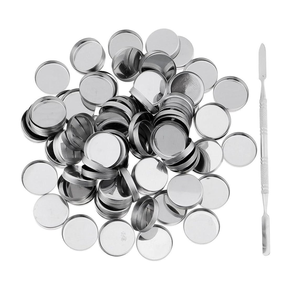 バレエだます定数Perfk 約100個 メイクアップパン 空パン スティック 金属棒  DIYプレス アイシャドウ/ブラッシュ/パウダー/クリーム コスメ DIY 2タイプ選べる  - ラウンドパン