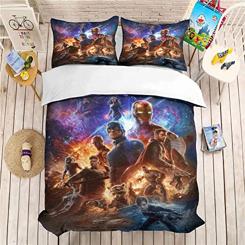GD-SJK The Avengers - Juego de cama (funda nórdica y funda de almohada, microfibra, impresión digital en 3 piezas, ropa de cama juvenil), A02, 155 x 220 cm