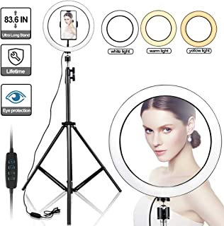 """Kiaitre 10"""" Selfie Ring Light with Long Tripod Stand & Cell Phone Holder - Ring Light for iPhone Android, Light Stand for Live Stream/Makeup, YouTube Video Photography(from 27 inches to 83.6 inches)"""