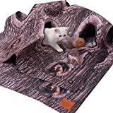 Tree Pattern Cat Activity Play Rug- Collapsible Pet Interactive Puzzle Play Blanket Cat Activity Play Mat with 6 Plush Balls Tunnels Caves for Cat Small Animals