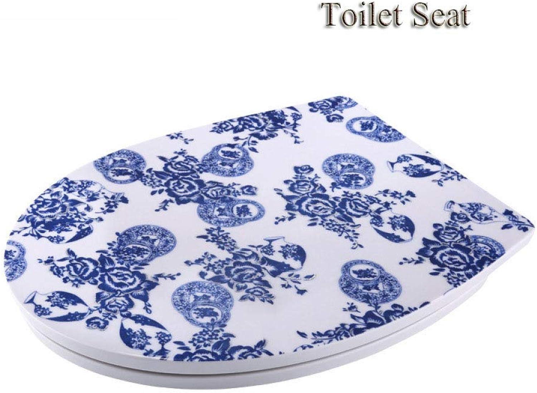 WC-Sitze O-Form Blau Und Wei Porzellan Drop Mute Antibakterielle Harnstoff-Formaldehyd-Harz Oben Montiert WC-Deckel (Montageffnung Lnge  13,517,5 Cm)