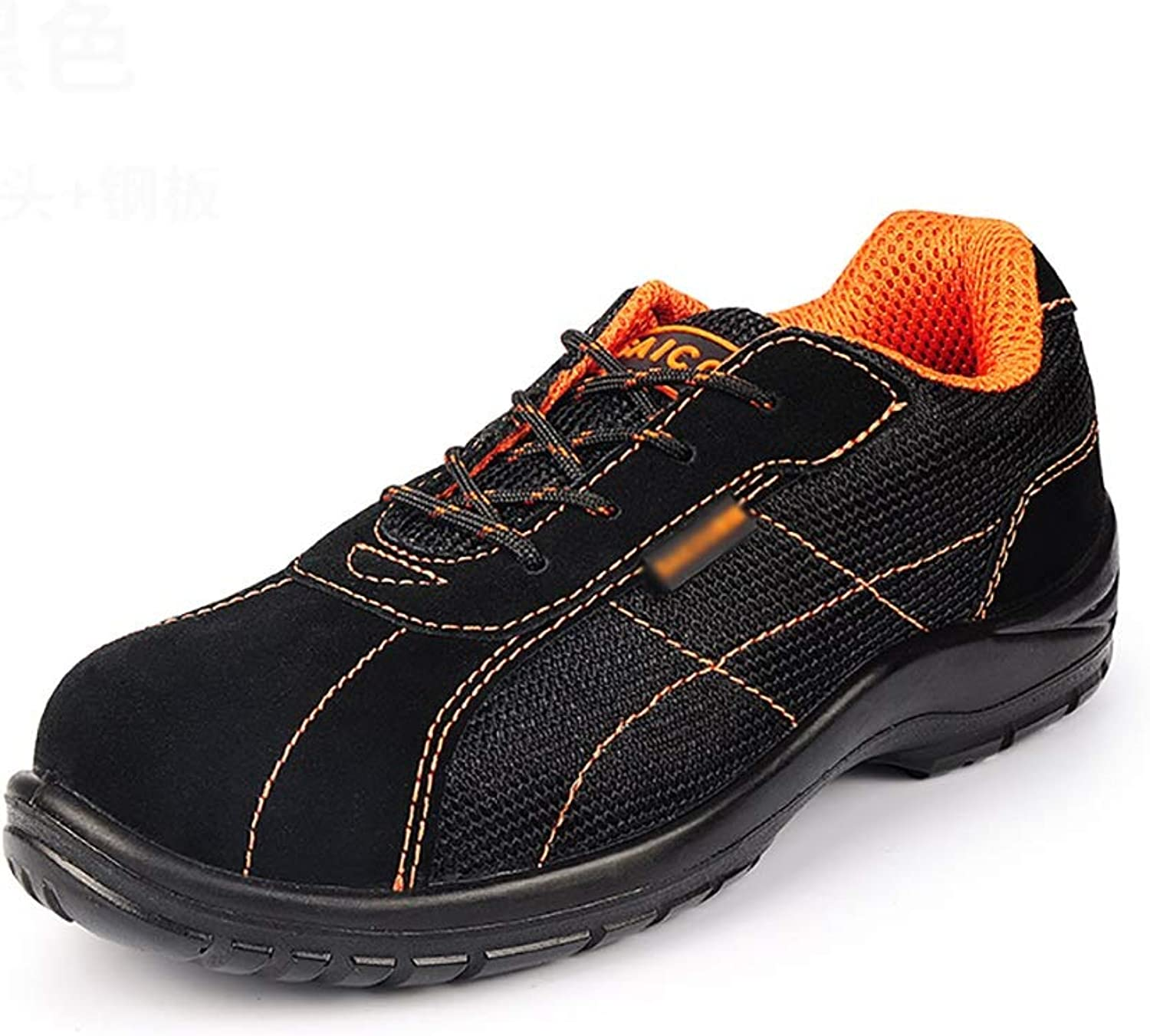 Work shoes Work shoes light and comfortable men and women casual shoes work safety shoes   rubber soles slip wear   steel plate head breathable anti-fleece + mesh anti-puncture predective shoes   spri