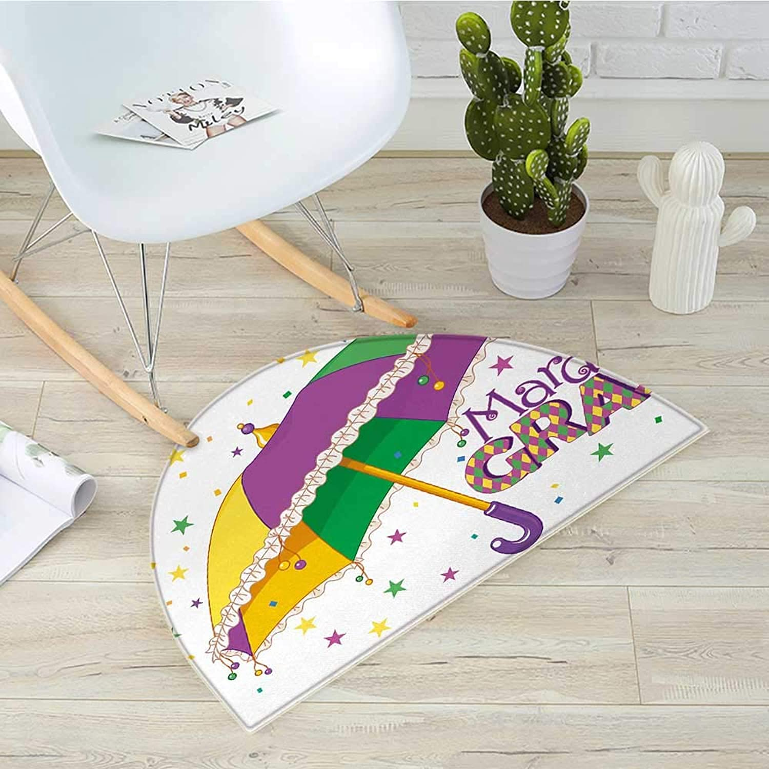 Mardi Gras Half Round Door mats Parade Preparations Umbrella Stars Confetti Figures Joyful Fun Party Bathroom Mat H 39.3  xD 59  Purple Yellow Green