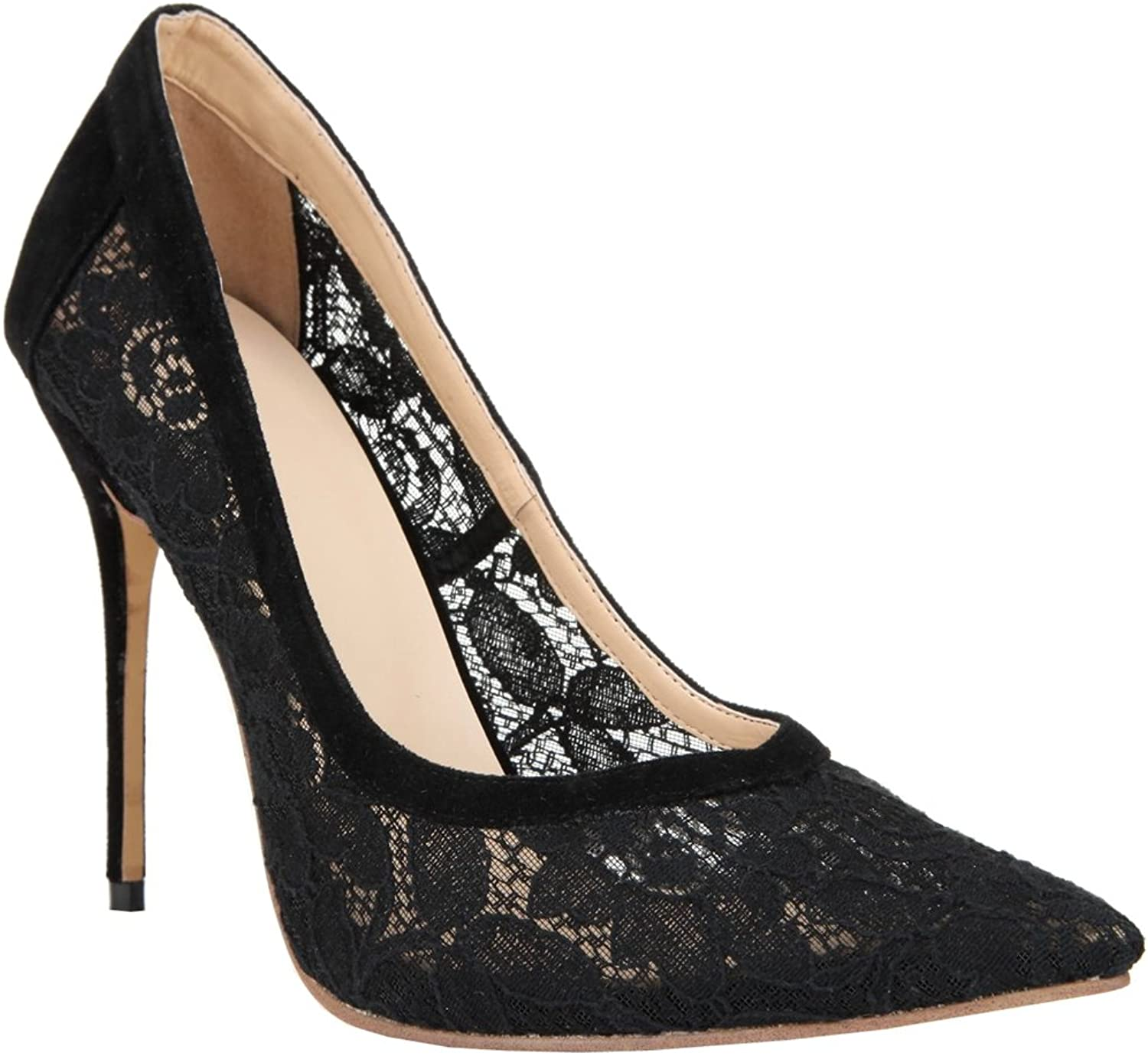 TDA Women's Sexy Breathable Lace Evening Party Dress Stiletto Pumps