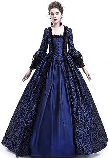6c17e7b6059 Fanessy Déguisement Femme Halloween Médiévale Robe de Princesse en Lace à  Manches Longues Noir Rouge Violet