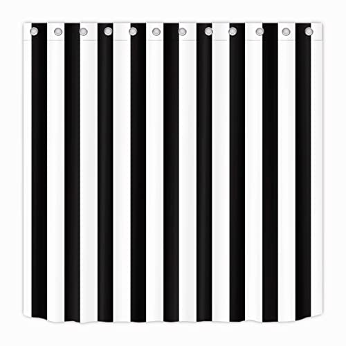 LB Black And White Shower CurtainStriped Bathroom Curtain72x72 Inch Waterproof Polyester Fabric