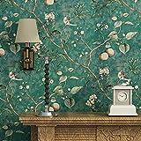 Blooming Wall Papier peint vintage Motif arbres et oiseaux Vert émeraude