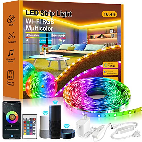 ROMALL Smart LED Strip Lights,16.4ft RGB LED Lights with App Control, 16 Million Colors WiFi Light Strips for Bedroom,Kitchen,Dorm Room, Bar, Work with Alexa and Google Assistant