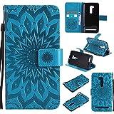 Guran® Custodia in Pelle per ASUS ZenFone Go ZB551KL 5.5' Smartphone Avere Carta Slot Supporto Protettiva Flip Case Cover-Blu
