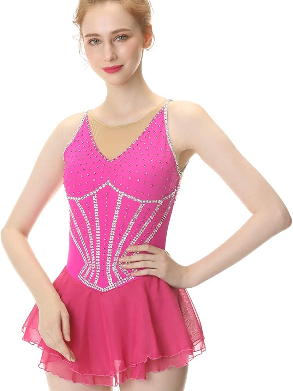 BINGHUOZHIWU Pink Figure Skating Dress Sleeveless Ice Skating Skirt Competition Dresses