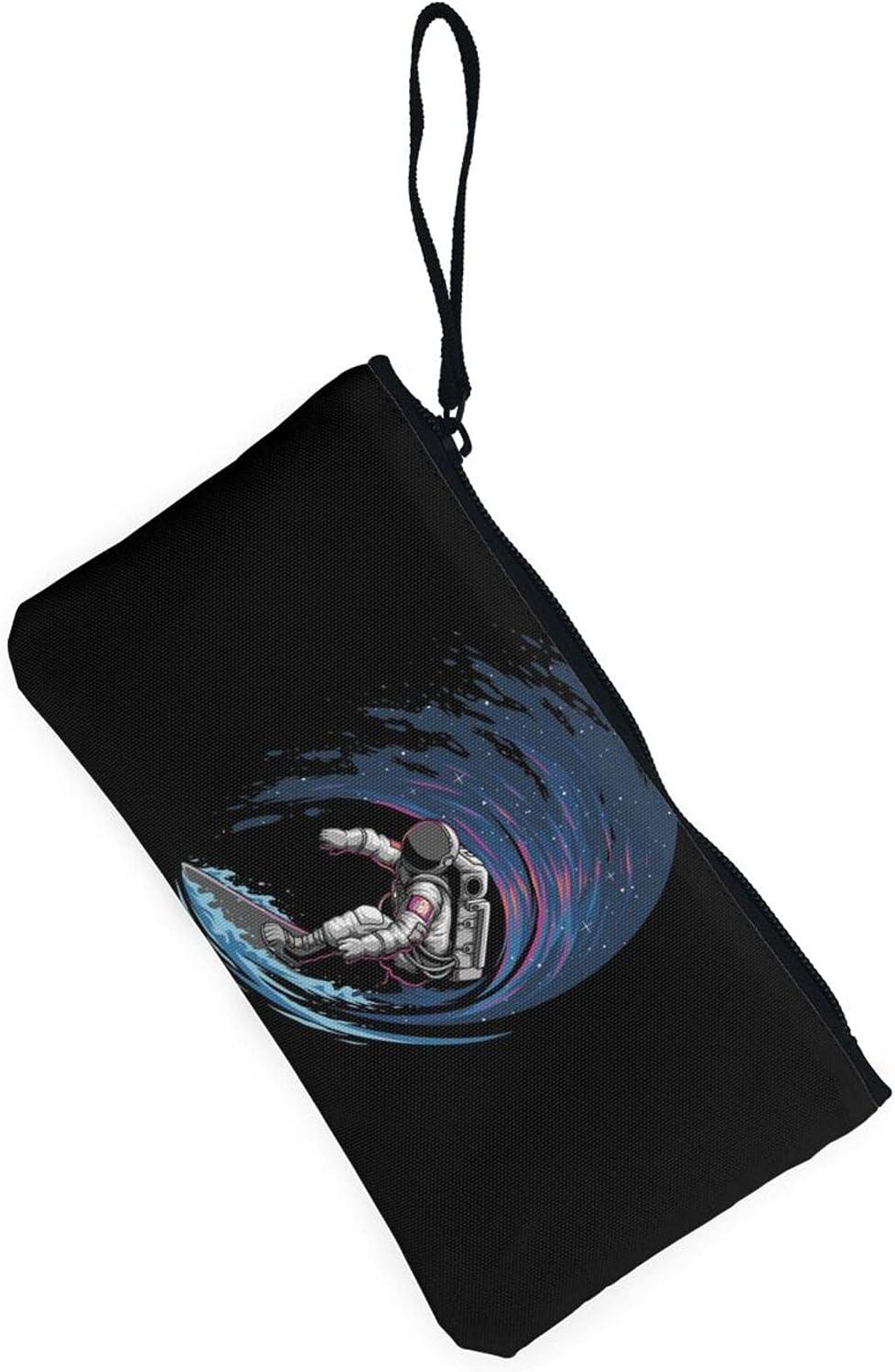 AORRUAM Astronaut surfing Canvas Coin Purse,Canvas Zipper Pencil Cases,Canvas Change Purse Pouch Mini Wallet Coin Bag
