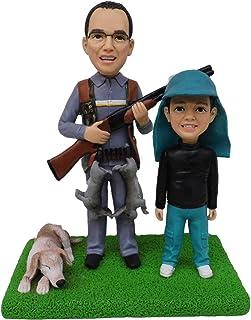 padre cazador y su hijo figurillas con presa Estatuilla de jabalí mini estatua servicio de escultura muñecas personalizada...