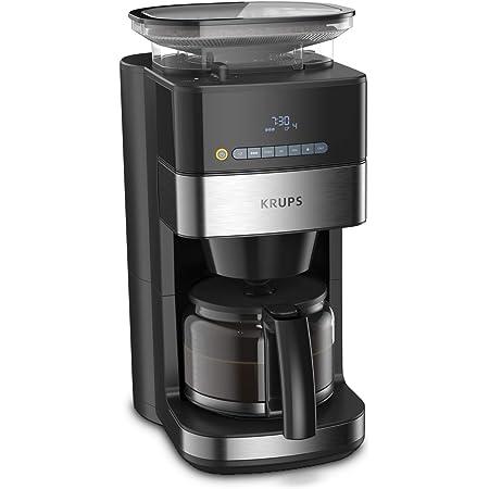 KRUPS KM832810 KM832-FCM and Grew KM832 Grind Aroma Cafetière Filtre avec broyeur à Grains intégré, nc, 1.25 liters, Noir