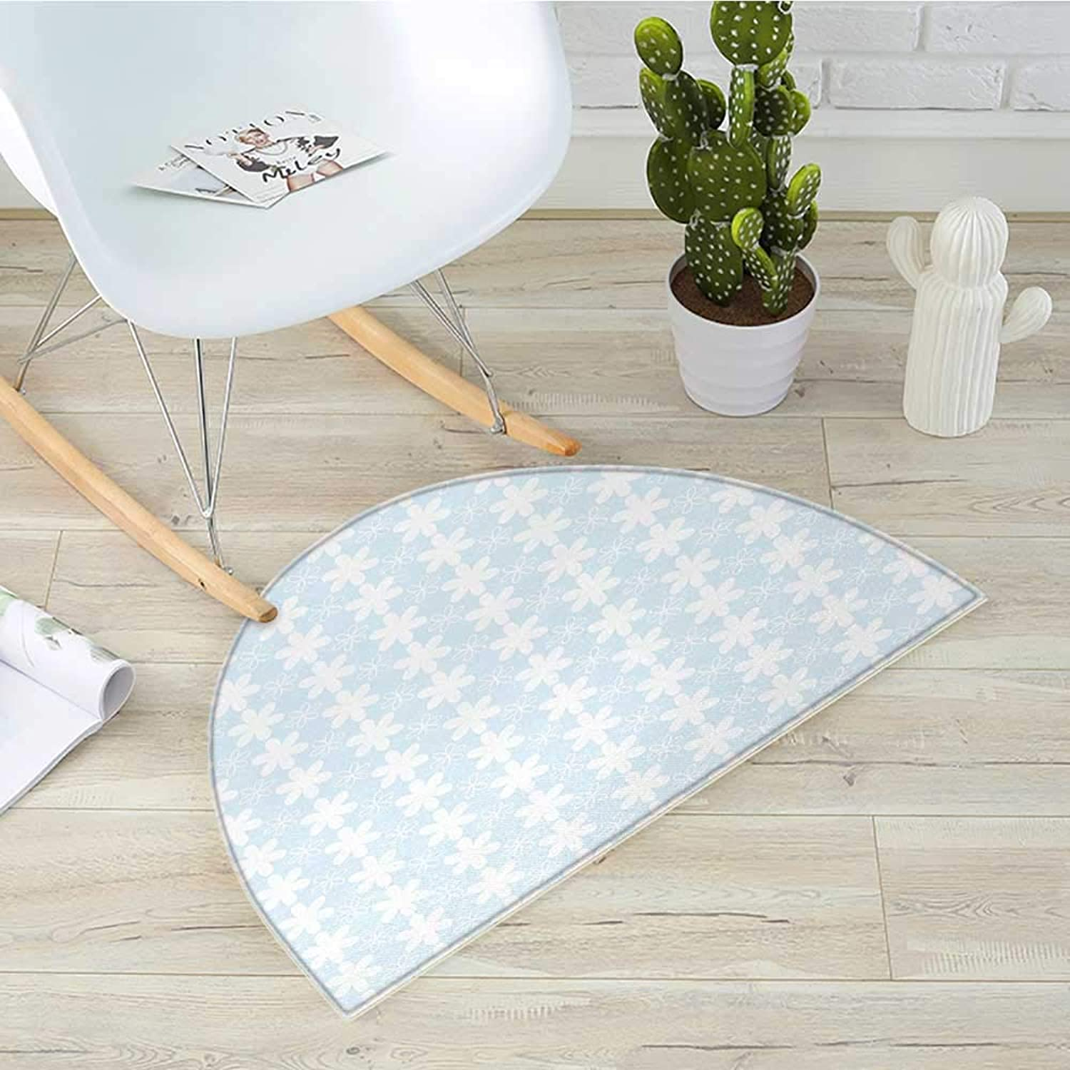 Floral Semicircular CushionGeometric Design greenical Flowers Pattern on Baby bluee Background Artwork Entry Door Mat H 39.3  xD 59  Baby bluee and White