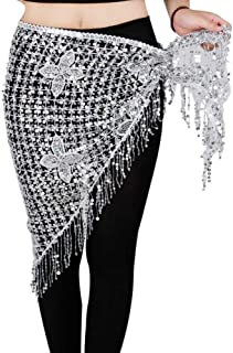 CHENTAOCS Belly Dance Hip Scarf Stretchy Long Tassel Triangle Sequin Belly Dancing Costume Belt Shawl Accessories Hand Crochet 10 Colors Easy to use (Color : Silver)