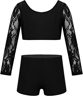 ACSUSS Kids Girls 2 Pieces Dance Sports Outfits Floral Lace Ballet Gymnastics Leotard Long Sleeves Crop Top with Shorts