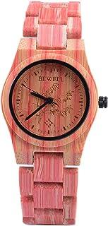 Bewell 105DG Red Bamboo Wristwatch for Men, Lightweight Quartz Analog Casual Wooden Watches