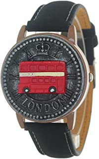 Retro Style London Telephone Booth Clamshell Wrist Watch Quartz Movement Leather Strap Antique Watch