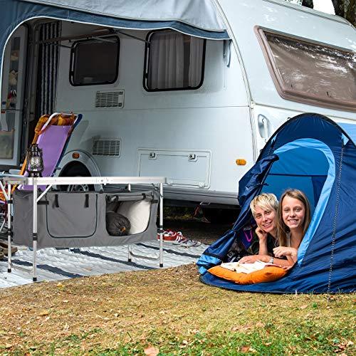Relaxdays Campingtisch Mesa Plegable, Altura Regulable, Estable, Armario de Camping, Aluminio y MDF, 120 x 62 cm, Color Plateado y Blanco