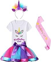 HBeatific Little Girls Layered Tulle Rainbow Tutu Skirt with Unicorn T-Shirt,Headband and Birthday Sash