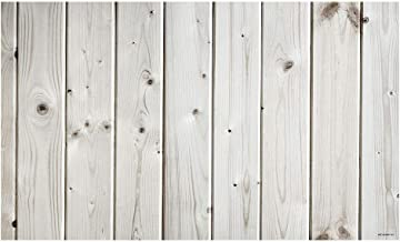 Funnytree 5X3ft Vinyl White Wood Backdrop Wooden Board Photography Bokeh Rustic Faux Panel Flat Background Portrait Retro Texture Photo Booth Studio Props Poster Photoshoot Photografia