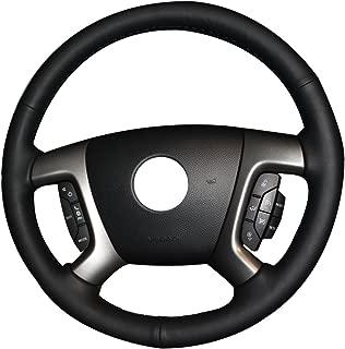 XuJi Hand Sewing Black Genuine Leather Car Steering Wheel Cover for Chevrolet Captiva 2007-2014 / Daewoo Winstorm/Silverado 2007-2013 / GMC Sierra 2007 2008 2009 2010 2011 2012 2013