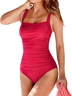 Upopby Women s Vintage Padded Push up One Piece Swimsuits Tummy Control  Bathing Suits Plus Size Swimwear d449966ae896
