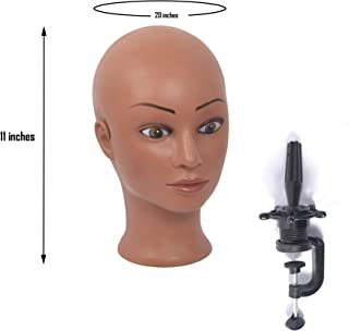 (rj01) Bald Female Mannequin Head Scarf Hat Cap Wigs Glasses Display Model,Black skin, T-pin & Tripod Compatible,come with table clamp