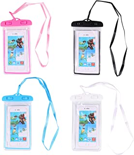 Balacoo 4 Pcs Universal Waterproof Case Fluorescent PVC Transparent Waterproof Phone Pouch Dry Bag with Lanyard for Beach ...
