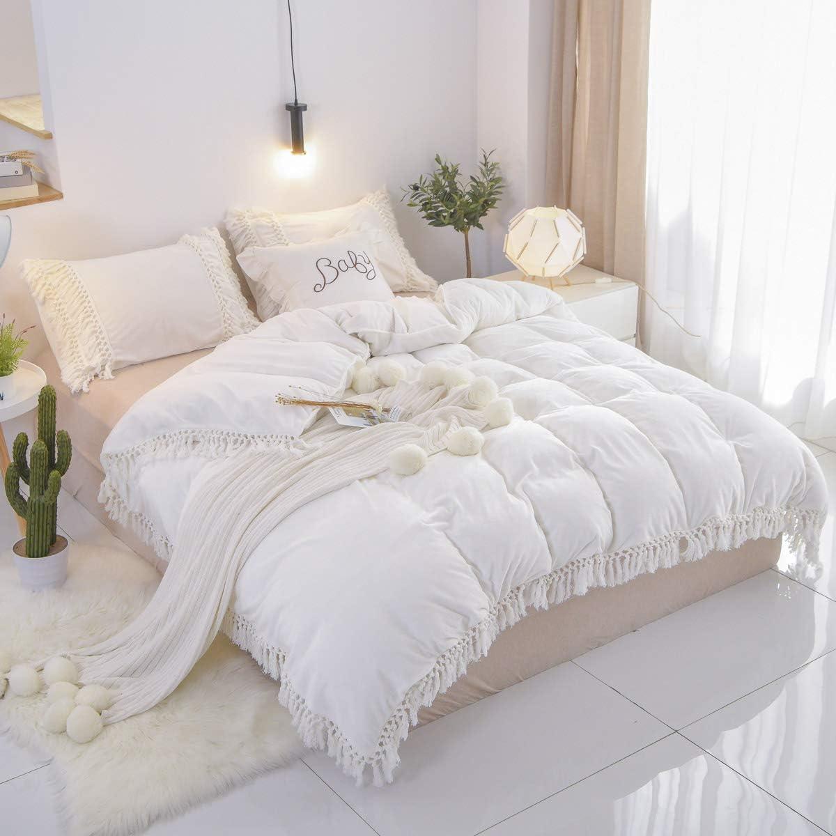 Brandream California King Duvet 2021 model Cover Pcs Financial sales sale 3 Boho Velvet Bedding