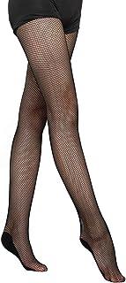 Vathery - Medias de malla para mujer, profesionales con red rígida, elásticas, calcetines de baile con suela antideslizante de los pies, sexy, medias de malla para ballet y danza Latina Negro