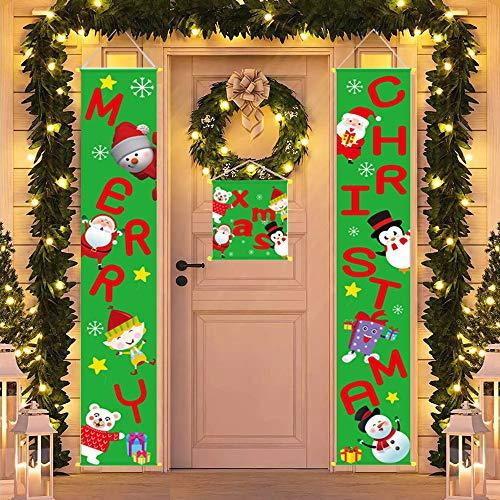 Feliz Navidad Banner Decoración de puerta de Navidad Bienvenida Navidad Porche Banners Colgantes Adorno de Navidad para la pared del hogar puerta delantera interior al aire libre (verde)