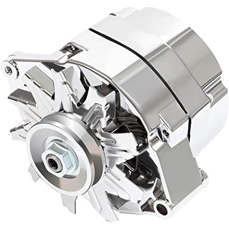 Automotive Alternator Compatible for 120Amp Chrome 1 Wire Self Exciting Street Rod GM 305 350 BBC SBC