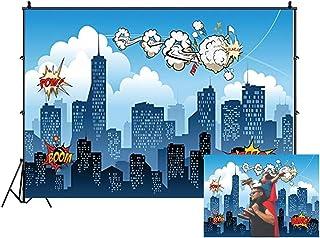 2,1 x 1,5 m Superhelden Hintergrund für Kindergeburtstage, Babyparty, Neugeborene, Kinder, Veranstaltung, Dessert Tisch, Fotografie, Hintergrunddekoration, Fotoautomaten, Studio Requisiten