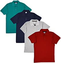 FLEXIMAA Men's Cotton Polo Collar T-Shirt (Pack of 4) Red, Navy Blue, Reliance Green & Grey Milange Color