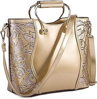 Crossbody Bag Tote Bag for Women, Large Vintage Shoulder Handbag and Purse, Patent Leather Handbags Satchels,Gold