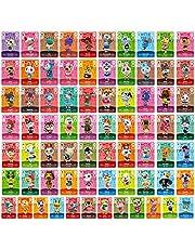 TPLGO 75 Stks ACNH NFC Tag Mini Game Zeldzame Karakter Villager Kaarten voor Nieuwe Horizons, Game Cards Serie 1-4 voor Schakelaar/Schakelaar Lite/Wii U/Nieuwe 3DS met Opbergtas