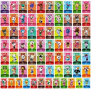 Animal Crossing New Horizons NFC Tag Mini Game Rare Character Villager Cards 72pcs for Switch/Switch Lite/Wii U with Crystal Storage Box(1.25x0.85x0.05 inches)