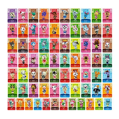 TPLGO 72 Pcs ACNH NFC Tag Mini Jeu Cartes de Villageois de Caractères Rares pour Animal Crossing New Horizons, Cartes Série 1-4 pour Switch / Switch Lite / Wii U avec étui de rangement